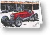 Rudolph Drawings Greeting Cards - Rudolph Caracciola Alfa Grand Prix of Italy at Monza Greeting Card by Paul Guyer