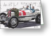 Rudolph Drawings Greeting Cards - Rudolph Caracciola Mercedes German Grand Prix Greeting Card by Paul Guyer