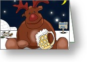 Rudolph Drawings Greeting Cards - Rudolph Chills Out Greeting Card by Kev Moore
