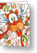 Rudolph Drawings Greeting Cards - Rudolph the Red Nose Deer Greeting Card by Luis Peres