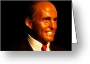 Superstar Photo Greeting Cards - Rudy Giuliani - Rudolph William Louis Giuliani Greeting Card by Lee Dos Santos