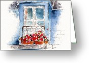 Pat Greeting Cards - Rue Bernardine Window Greeting Card by Pat Katz