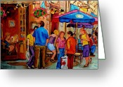 Cafescenes Greeting Cards - Rue De La Commune Montreal Greeting Card by Carole Spandau