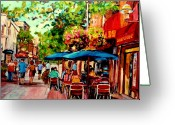 Dinner For Two Greeting Cards - Rue Prince Arthur Montreal Greeting Card by Carole Spandau