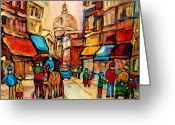 Montreal Street Life Greeting Cards - Rue St Jacques Old Montreal Streets  Greeting Card by Carole Spandau