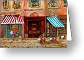 Cafescenes Greeting Cards - Rue St Paul Montreal Greeting Card by Carole Spandau