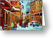 Cafescenes Greeting Cards - Rue St Paul Montreal Streetscene Cafes And Caleche Greeting Card by Carole Spandau