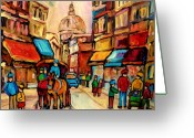 Quarter Horses Greeting Cards - Rue St. Paul Old Montreal Streetscene Greeting Card by Carole Spandau