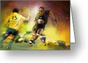 Rugby World Cup Greeting Cards - Rugby 01 Greeting Card by Miki De Goodaboom