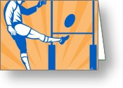 League Greeting Cards - Rugby Goal Kick Greeting Card by Aloysius Patrimonio