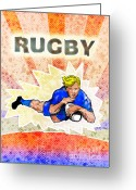 Male Greeting Cards - Rugby player diving to score a try Greeting Card by Aloysius Patrimonio