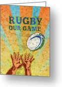 Male Greeting Cards - Rugby Player Hands Catching Ball Greeting Card by Aloysius Patrimonio