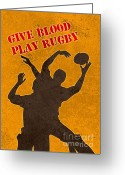 Jumping Digital Art Greeting Cards - Rugby Player Jumping Catching Ball In Lineout Greeting Card by Aloysius Patrimonio