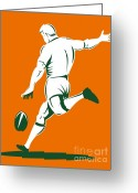 League Greeting Cards - Rugby Player Kicking Greeting Card by Aloysius Patrimonio