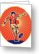 Male Greeting Cards - Rugby Player Kicking Ball Woodcut Greeting Card by Aloysius Patrimonio