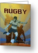 Male Greeting Cards - Rugby Player Kicking The Ball Greeting Card by Aloysius Patrimonio