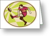 Male Greeting Cards - Rugby player kicking the ball retro Greeting Card by Aloysius Patrimonio