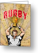 Male Greeting Cards - Rugby Player Raising Championship World Cup Trophy Greeting Card by Aloysius Patrimonio