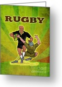 Male Greeting Cards - Rugby player running attacking with ball Greeting Card by Aloysius Patrimonio