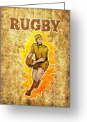 Male Greeting Cards - Rugby player running passing ball Greeting Card by Aloysius Patrimonio
