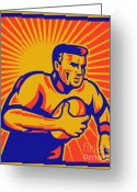 Illustration Greeting Cards - Rugby Player Running With Ball Greeting Card by Aloysius Patrimonio