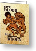 Male Greeting Cards - Rugby player running with ball attack by lion Greeting Card by Aloysius Patrimonio