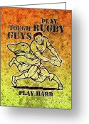Male Greeting Cards - Rugby player running with ball attack by shark Greeting Card by Aloysius Patrimonio