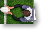 Player Photo Greeting Cards - Rugby player scoring a try with both hands. Greeting Card by Richard Thomas