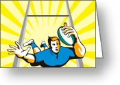 Illustration Greeting Cards - Rugby Player Scoring Try Retro Greeting Card by Aloysius Patrimonio