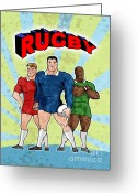 Male Greeting Cards - Rugby Player Standing With Ball Greeting Card by Aloysius Patrimonio