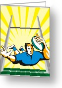 Rugby World Cup Greeting Cards - Rugby Player try Greeting Card by Aloysius Patrimonio