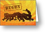 Illustration Greeting Cards - Rugby Players Engaged In Scrum  Greeting Card by Aloysius Patrimonio