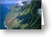 Na Pali Coast Kauai Greeting Cards - Rugged Cliffs Along Na Pali Coast State Greeting Card by Tim Fitzharris