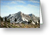 Snow Capped Painting Greeting Cards - Rugged Peaks Greeting Card by Frank Wilson