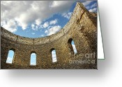 Grave Greeting Cards - Ruin wall with windows of an old church  Greeting Card by Sandra Cunningham