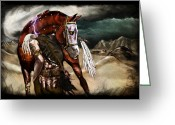 Ruined Empires Greeting Cards - Ruined Empires - Skin Horse  Greeting Card by Mandem