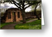 Spring Scenes Greeting Cards - Ruins at the Mission San Francisco de la Espada Greeting Card by Gerlinde Keating - Keating Associates Inc