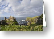 Medieval Architecture Greeting Cards - Ruins Of 13th Century Medieval Dunluce Greeting Card by Rich Reid