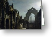 Abandoned House Painting Greeting Cards - Ruins of Holyrood Chapel Greeting Card by Louis Jacques Mande Daguerre