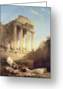 Portico Greeting Cards - Ruins of the Temple of Bacchus Greeting Card by David Roberts