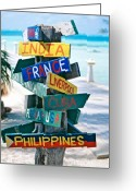 Fun Greeting Cards - Rum Point Signs Grand Cayman Islands Greeting Card by George Oze