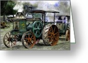 Plowing Greeting Cards - Rumely Oil Pull Ready To Roll Greeting Card by F Leblanc