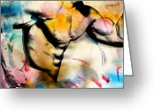 Artistic Nude  Greeting Cards - Run Greeting Card by Mark Ashkenazi