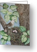 Lovebird Painting Greeting Cards - Run Weta run Greeting Card by Phong Trinh