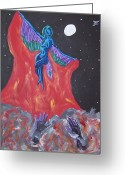 Kanye West Painting Greeting Cards - Runaway Phoenix Greeting Card by Jason JaFleu Fleurant