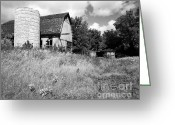 Round Barn Greeting Cards - Rundown Farm Wales Greeting Card by Jan Faul