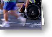 Disability Greeting Cards - Runners and disabled people in wheelchairs racing together Greeting Card by Sami Sarkis