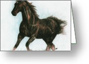 Running Horse Greeting Cards - Running Free Greeting Card by Arline Wagner