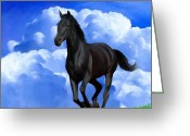 Running Horse Painting Greeting Cards - Running Free Greeting Card by Snake Jagger