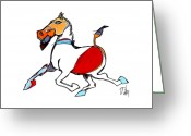 Native Drawings Greeting Cards - Running Horse Greeting Card by Dan Daulby